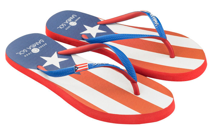 Samba Sol Women's Countries Collection Flip Flops - Puerto Rico