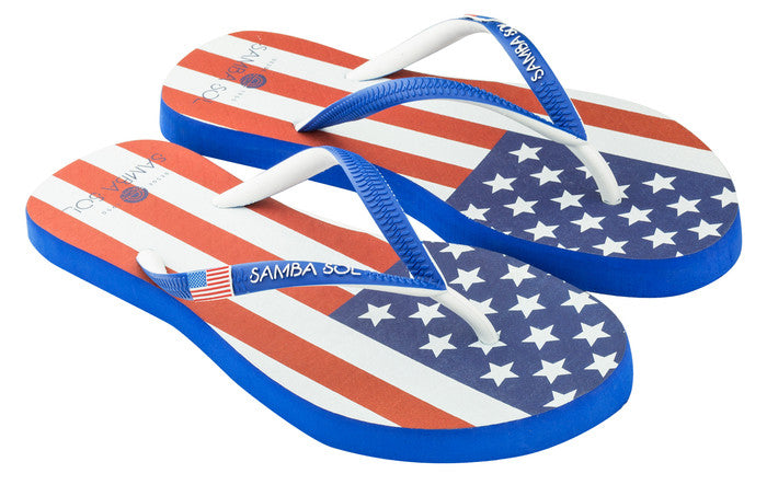 Samba Sol Women's Countries Collection Flip Flop - USA-Samba Sol