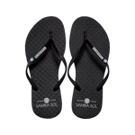 Samba Sol Women's Crystal Collection Flip Flops - Black Crystal
