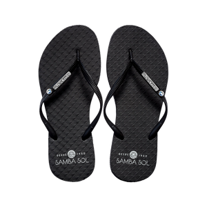 Samba Sol Women's Crystal Collection Flip Flops - Black Crystal-Samba Sol
