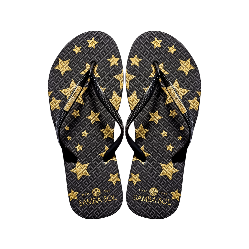 Women's Fashion Collection Flip Flops - Black Stars