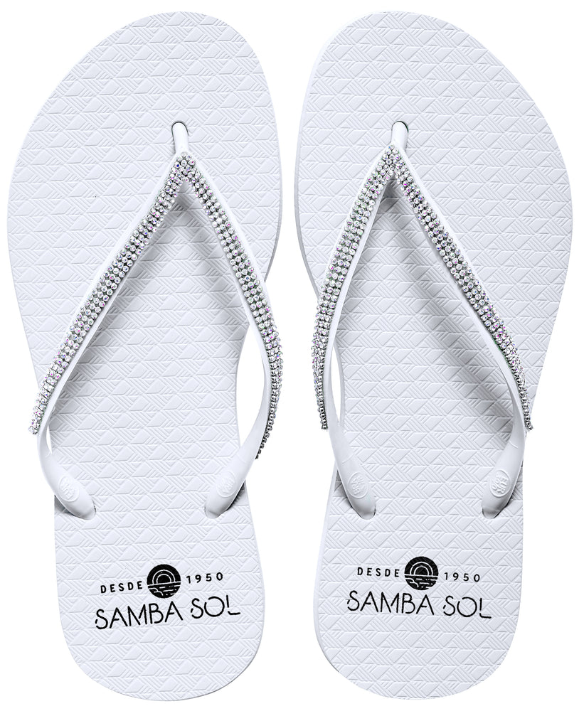 Samba Sol Women's Crystal Collection Flip Flops - Iridescent White