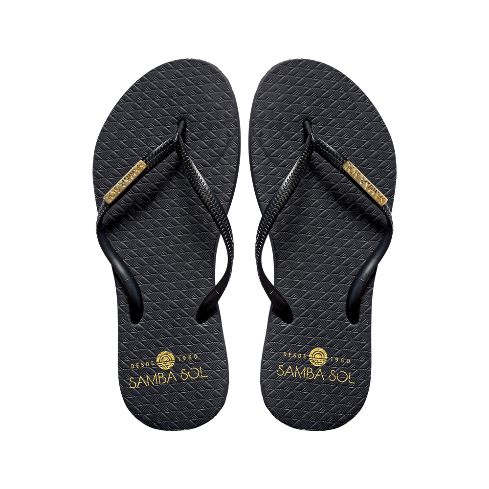 Samba Sol Women's Fashion Collection Flip Flops - Classic Black