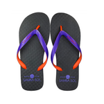 Samba Sol Men's Beach Collection Flip Flops - Black/Orange/Purple