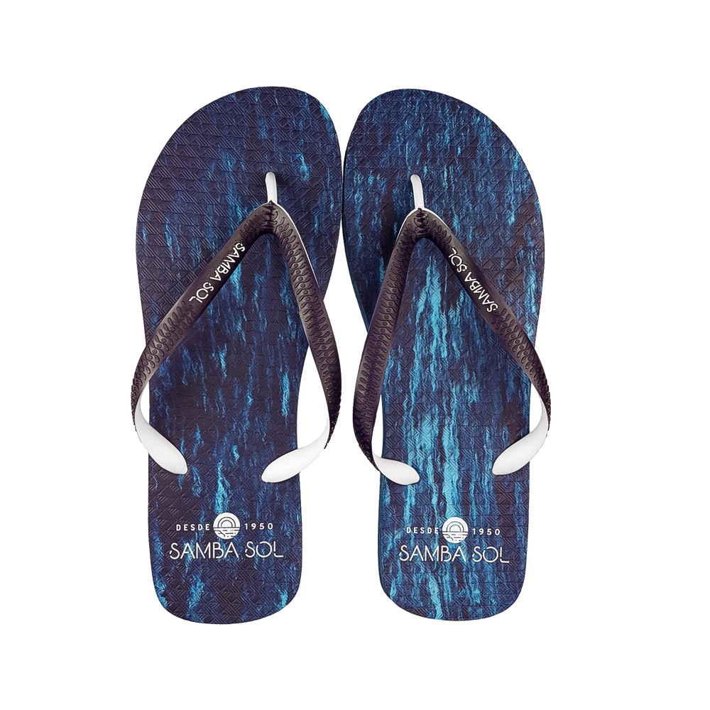 Samba Sol Men's Beach Collection Flip Flops - Navy/White
