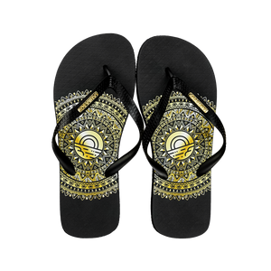 Men's Fashion Collection Flip Flops - Gold Medallion