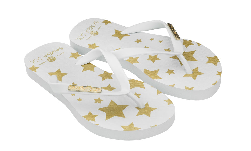 Samba Sol Kid's Fashion Collection Flip Flops - White Stars