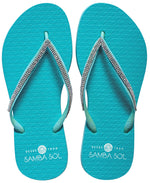 Samba Sol Women's Crystal Collection Flip Flops - Iridescent Light Blue