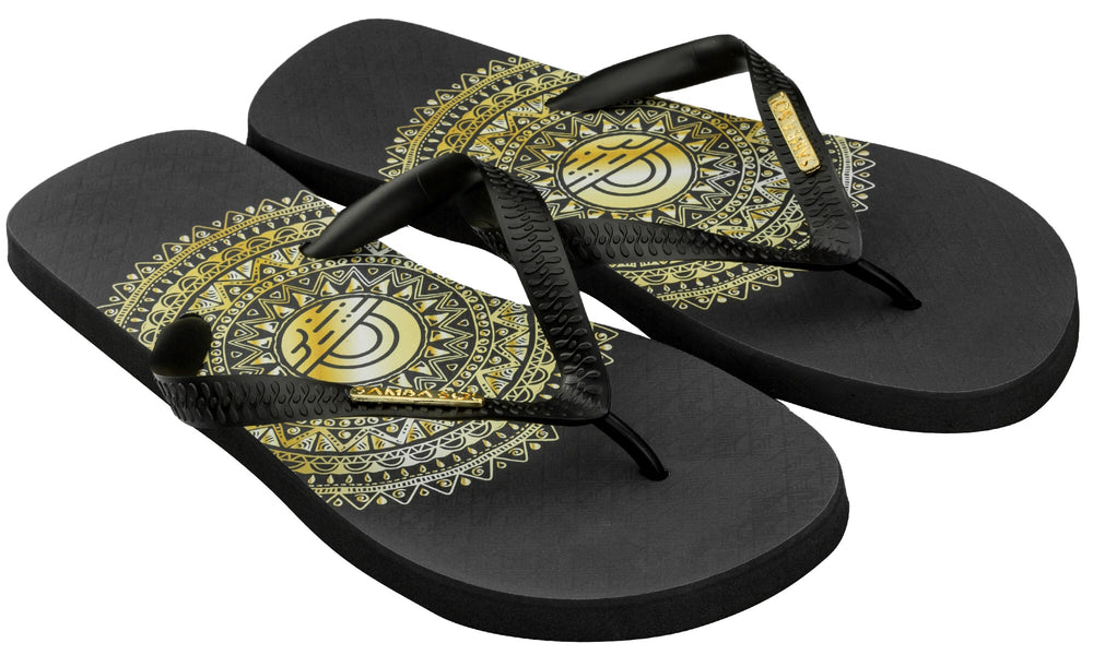 Samba Sol Men's Fashion Collection Flip Flops - Gold Medallion-Samba Sol