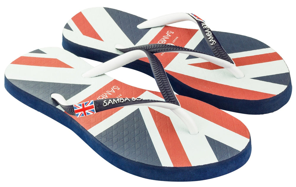 Samba Sol Women's Countries Collection Flip Flops - England-Samba Sol