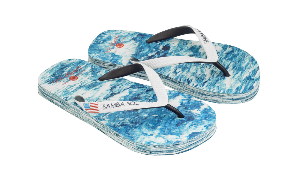 Samba Sol Kid's Countries Collection Flip Flops - USA Water