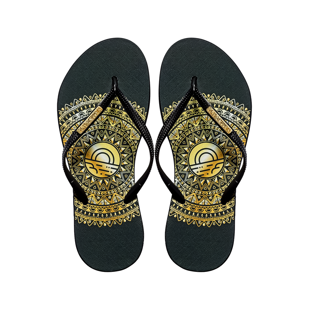 Samba Sol Women's Fashion Collection Flip Flops - Gold Medallion