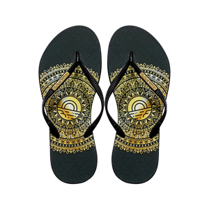 Women's Fashion Collection Flip Flops - Gold Medallion