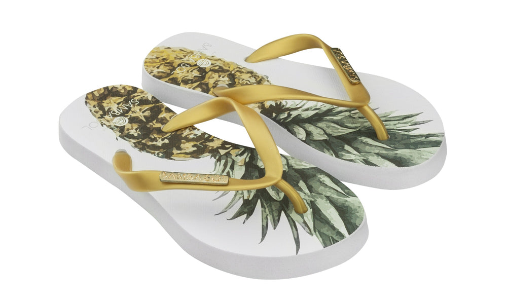 Samba Sol Kid's Fashion Collection Flip Flops - Pineapple-Samba Sol
