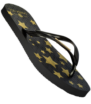 Samba Sol Women's Fashion Collection Flip Flops - Black Stars-Samba Sol