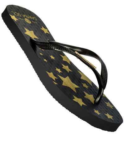 Women's California Collection Flip Flop - Black/Gold Stars