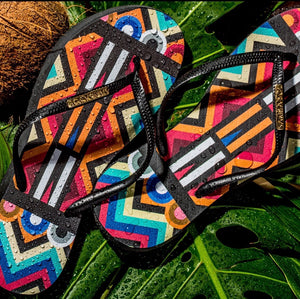 Women's Fashion Collection Flip Flops - Tribal