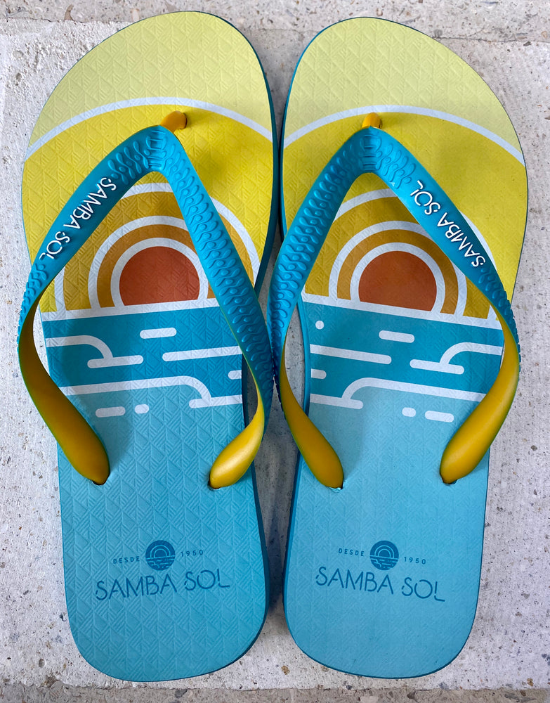 Samba Sol Men's Beach Collection Flip Flops - Miami Beach Sunset