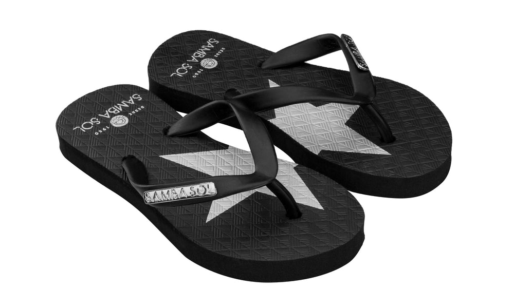 Samba Sol Kid's Fashion Collection Flip Flops - Silver Star