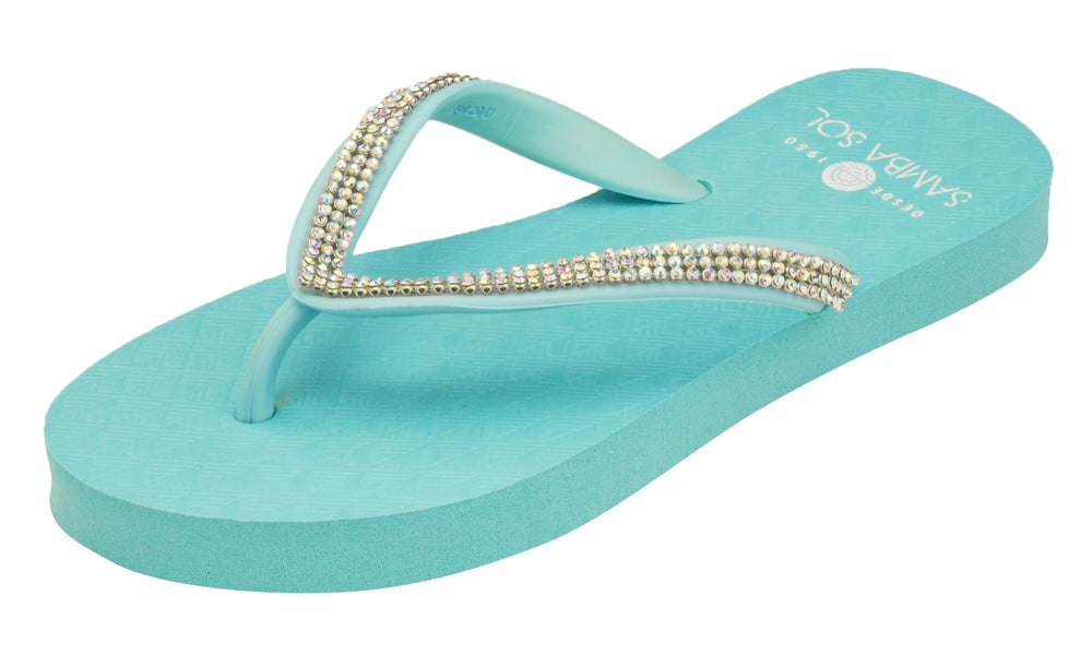 Samba Sol Kid's Crystal Collection Flip Flops - Iridescent Blue-Samba Sol