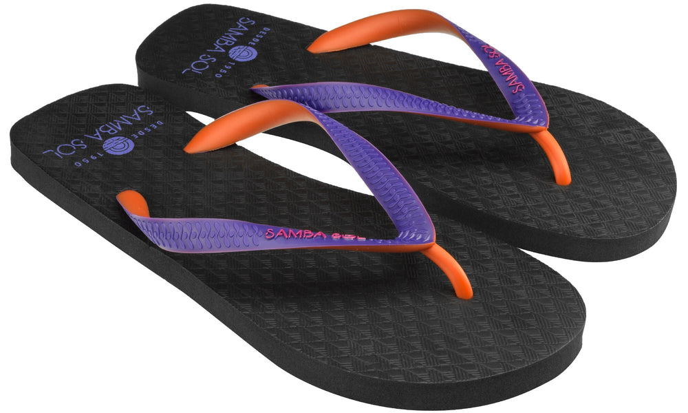 Samba Sol Men's Beach Collection Flip Flops - Black/Orange/Purple-Samba Sol