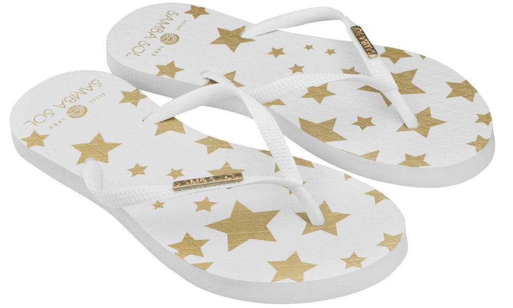 Women's Fashion Collection Flip Flops - White Stars