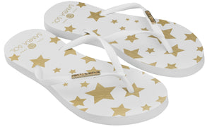 Samba Sol Women's Fashion Collection Flip Flops - White Stars-Samba Sol