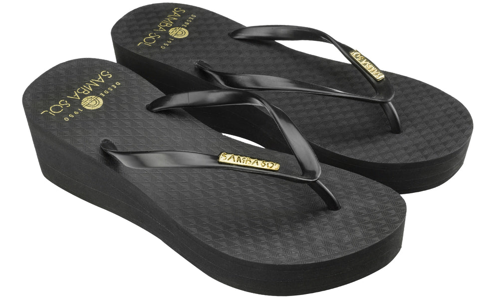 Samba Sol Women's Wedge Collection Flip Flops - Black