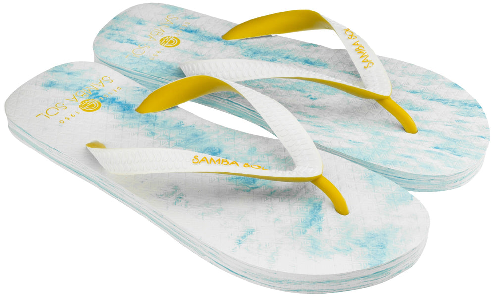 Samba Sol Men's Beach Collection Flip Flops - Light Blue/Yellow-Samba Sol