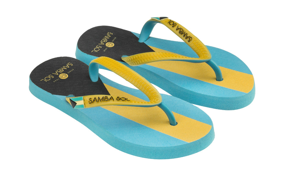 Samba Sol Kid's Countries Collection Flip Flops - Bahamas