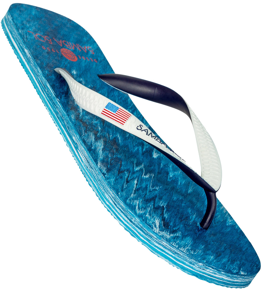 Samba Sol Men's Countries Collection Flip Flops - USA Water-Samba Sol