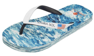 Samba Sol Kid's Countries Collection Flip Flops - USA Water-Samba Sol