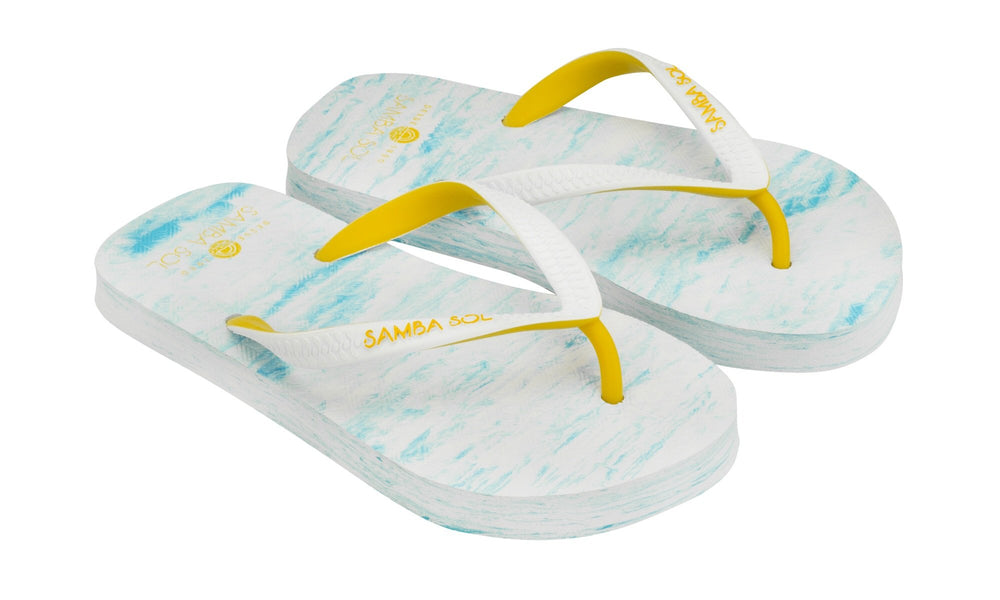 Samba Sol Kid's Beach Collection Flip Flops - Light Blue/Yellow