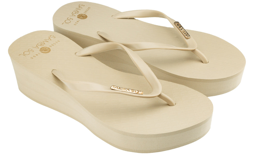 Samba Sol Women's Wedge Collection Flip Flops - Sand-Samba Sol