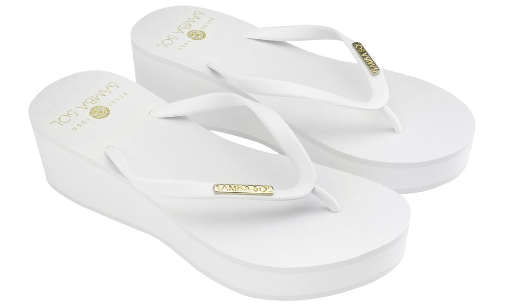 Samba Sol Women's Wedge Collection Flip Flops - White