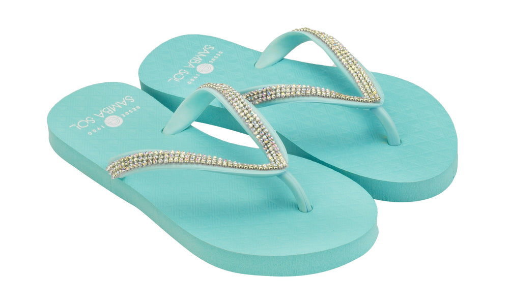 Samba Sol Kid's Crystal Collection Flip Flops - Iridescent Blue