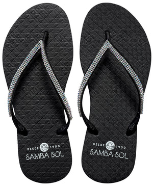 Samba Sol Women's Crystal Collection Flip Flops - Iridescent Black