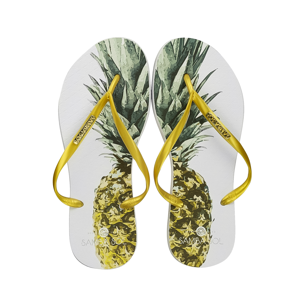 Samba Sol Women's Fashion Collection Flip Flops - Pineapple Gold Strap