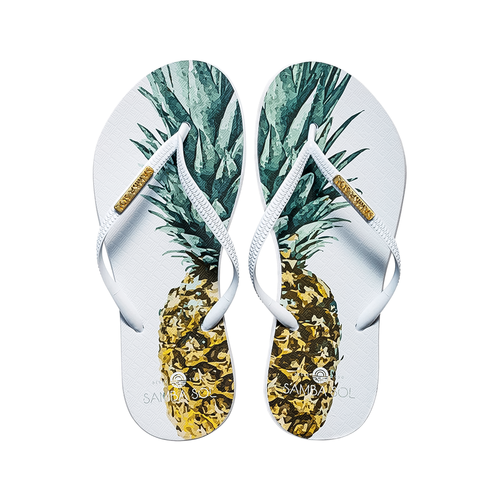 Samba Sol Women's Fashion Collection Flip Flops - Pineapple White Strap-Samba Sol