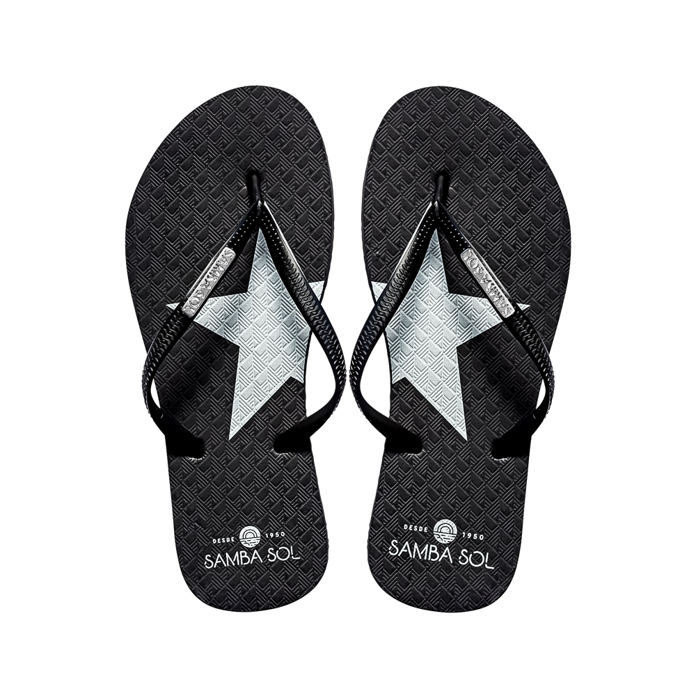 Samba Sol Women's Fashion Flip Flops - Silver Star