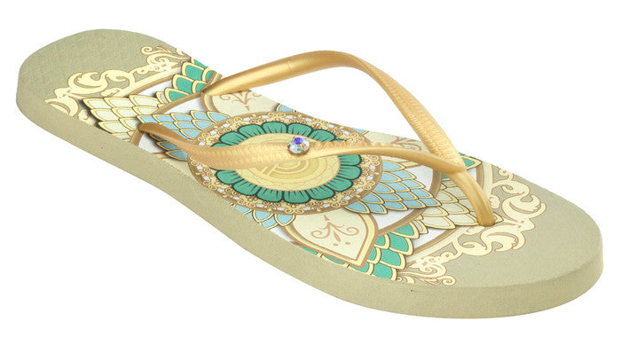 Women's Crystal Collection Flip Flops - Mandala Sand