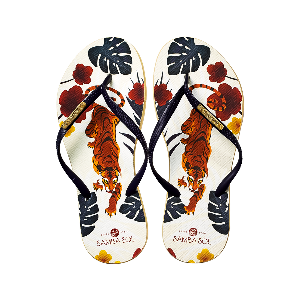 Samba Sol Women's Fashion Collection Flip Flops - Tiger-Samba Sol