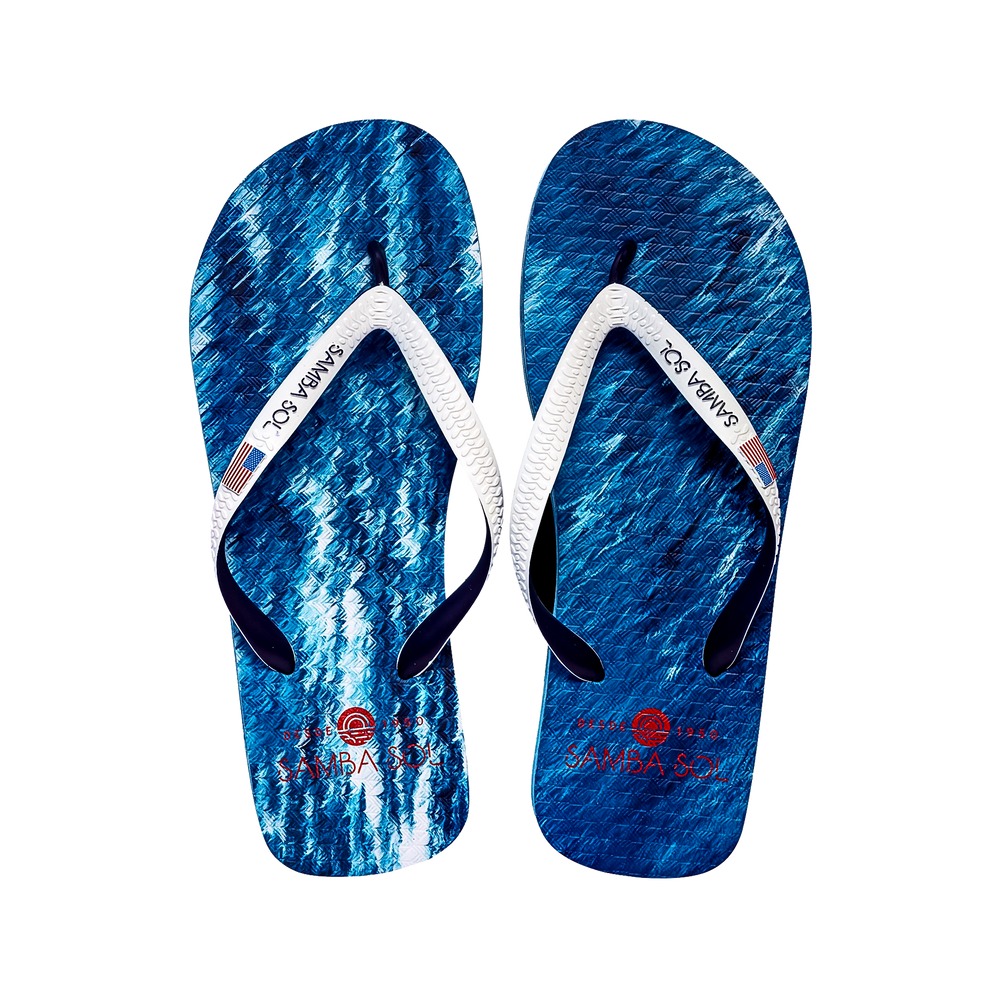 Samba Sol Men's Countries Collection Flip Flops - USA Water