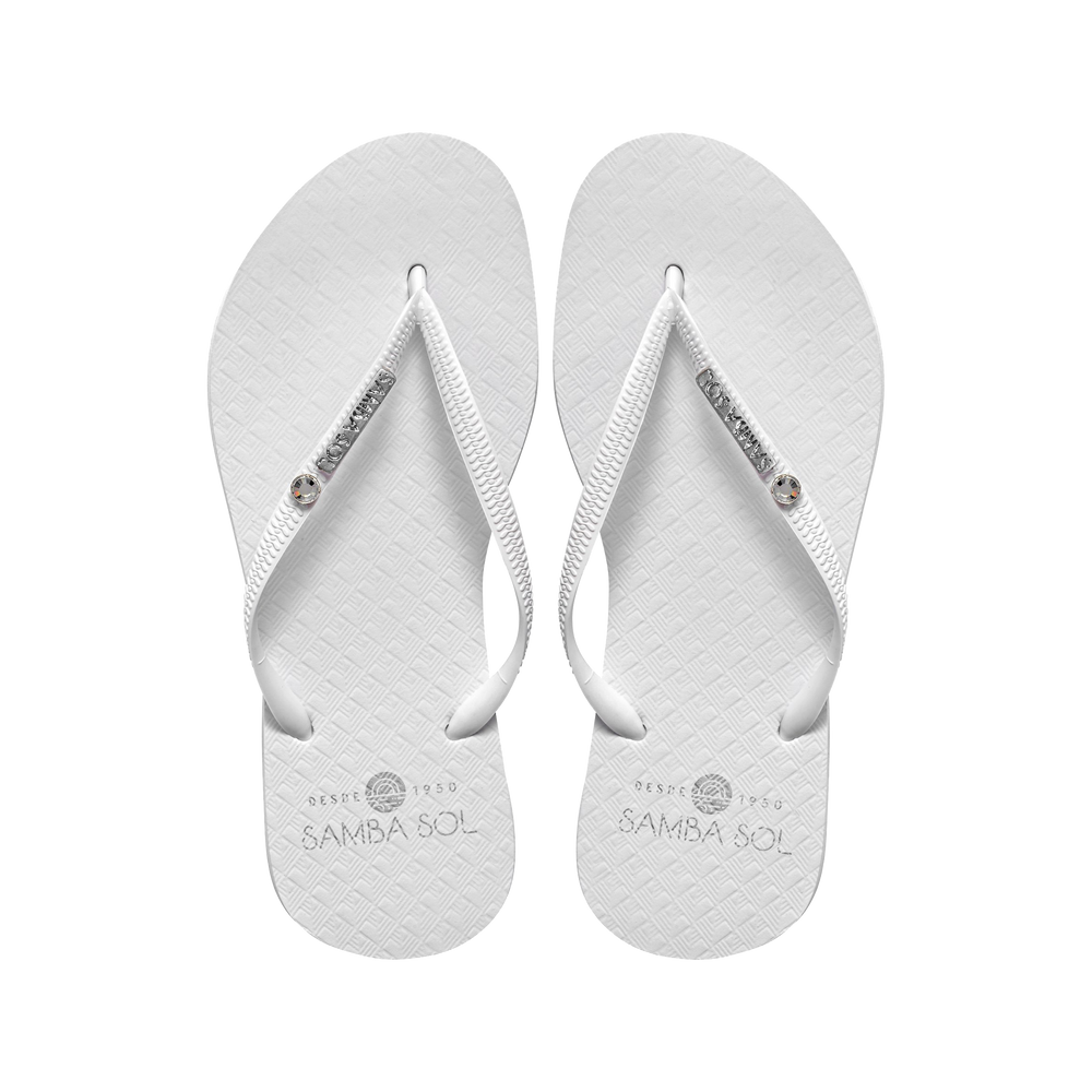 Samba Sol Women's Crystal Collection Flip Flops - White Crystal