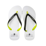 Samba Sol Men's Beach Collection Flip Flops - White/Lime/Grey