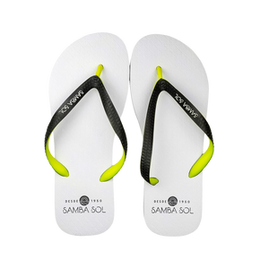 Samba Sol Men's Beach Collection Flip Flops - White/Lime/Grey-Samba Sol