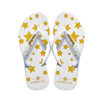 Samba Sol Women's Fashion Collection Flip Flops - White Stars