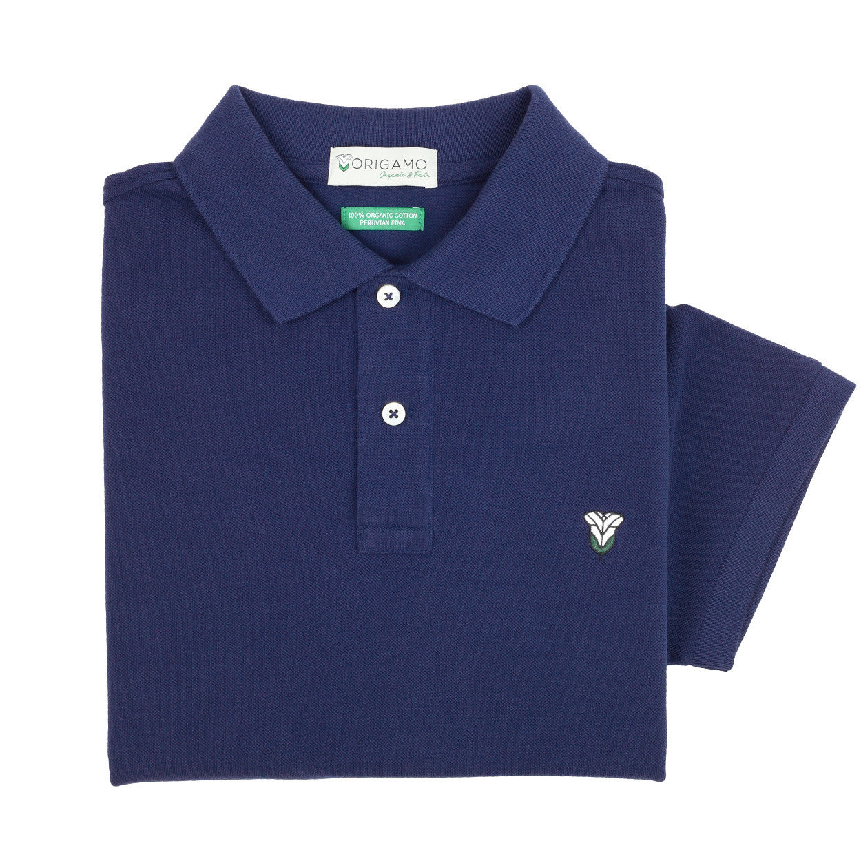 Pacific Polo Plain Navy </br>Double Pique - 100% Organic Pima Cotton
