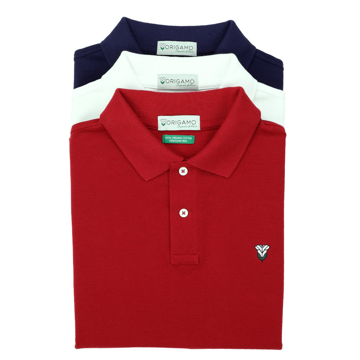 Pacific Polo Plain Crimson Red </br>Double Pique - 100% Organic Pima Cotton