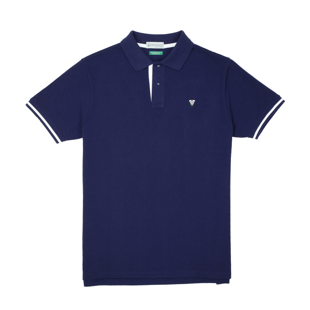 Pacific Polo Navy Contrast White </br>Double Pique - 100% Organic Pima Cotton